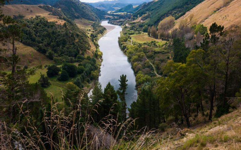 Scenic view of New Zealand river stretching along narrow valley