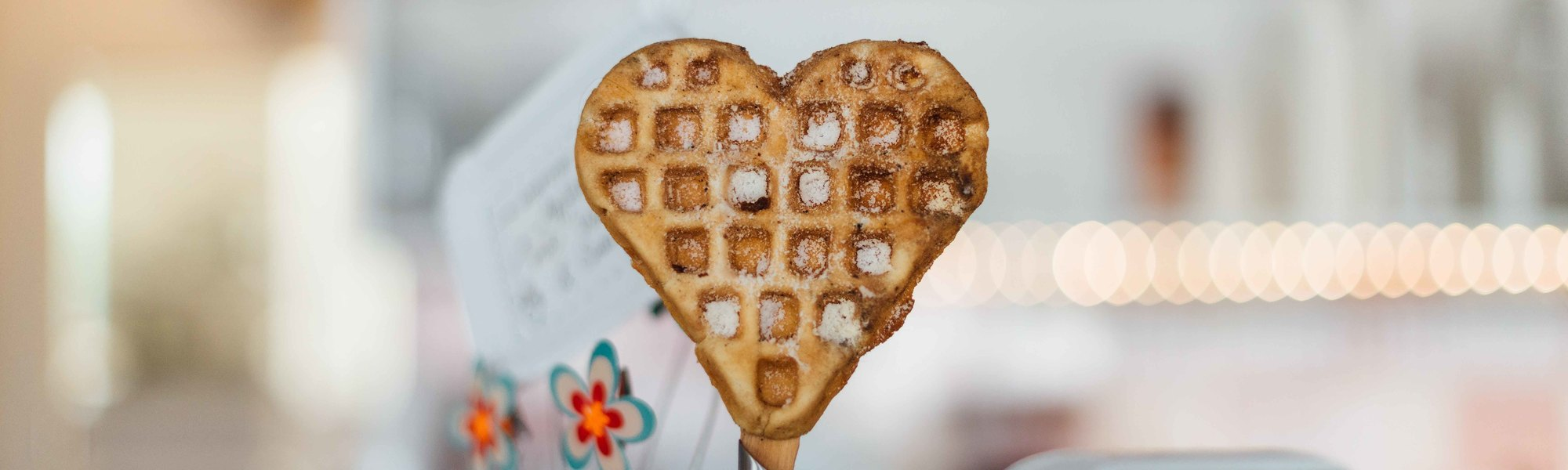 Waffle in the shape of a heart