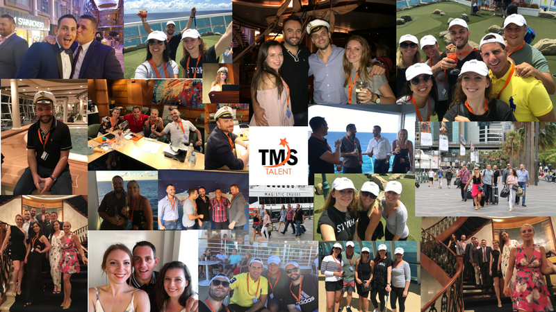 collage of images of TMS Talent during their cruise conference