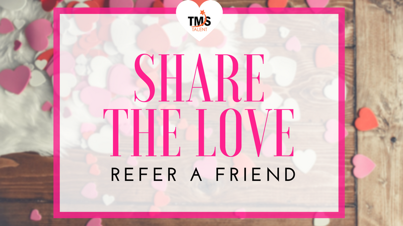image with hearts in the background with the words 'share the love refer a friend'