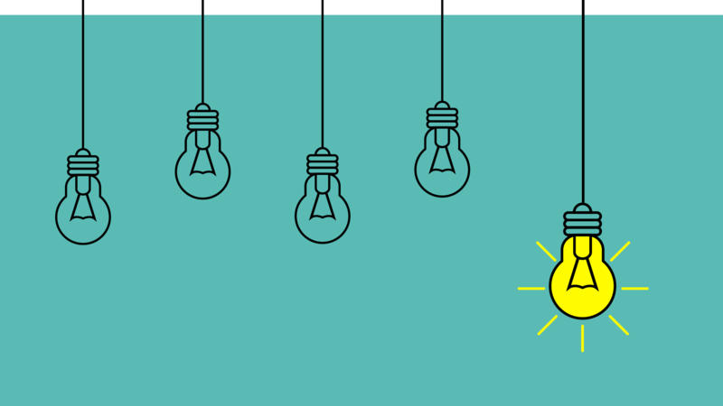 Graphic of five light bulbs with one lit up in yellow