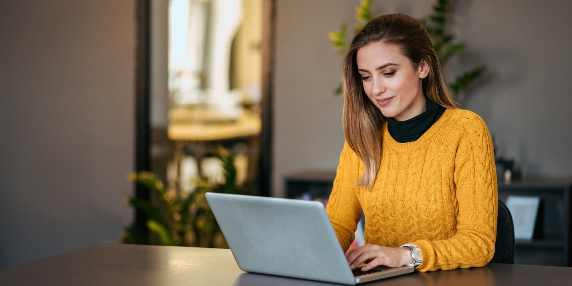 beautiful casual woman using laptop