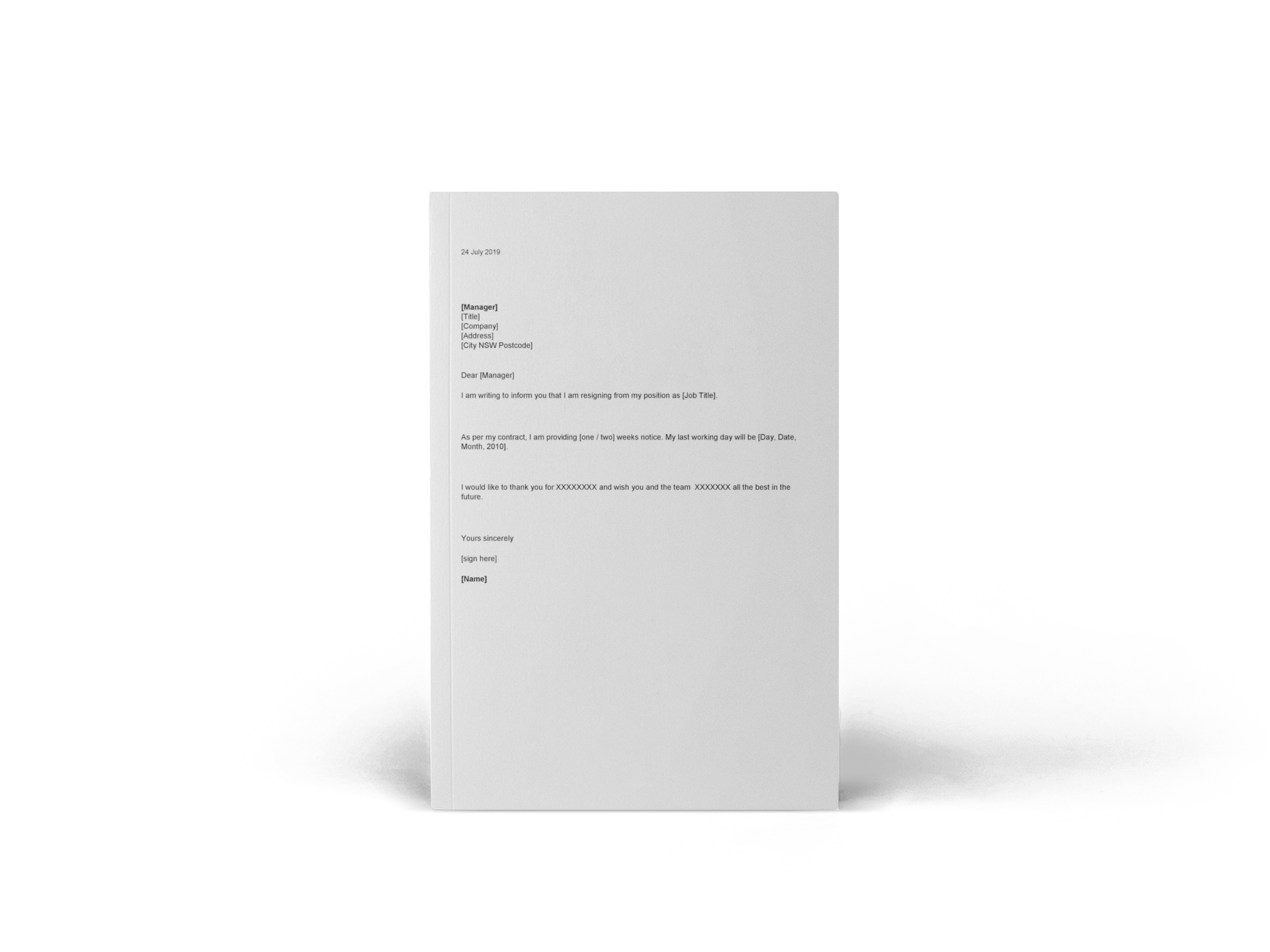 Resignation Letter Template (Word)
