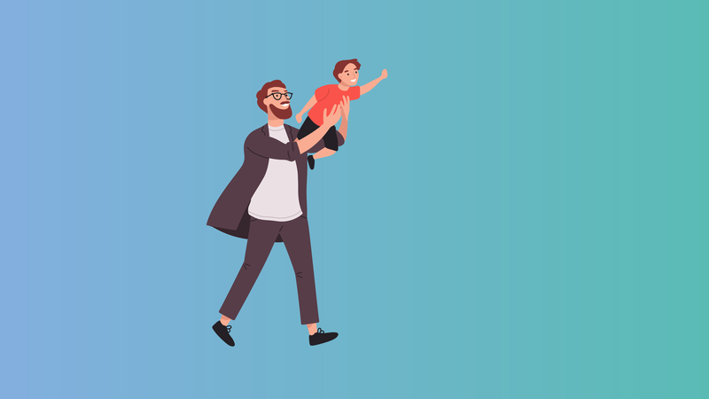 Man lifting up child pretending to fly